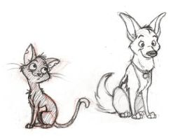 Bolt and Mittens sketch by syminka