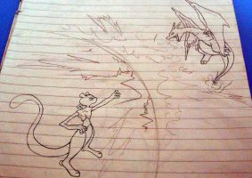 Mewtwo vs. Charizard by Kboomz