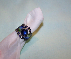 Blue Triple Moon Filigree Ring by mymysticgems