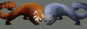 red panda and binturong by Meteor-Panda