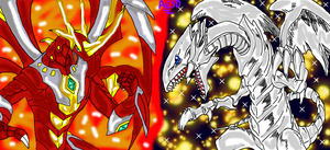 Pyrus Titanium Dragonoid VS Blue-Eyes White Dragon by AESD