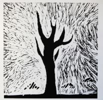 Tree Lino Cut by Joojie99