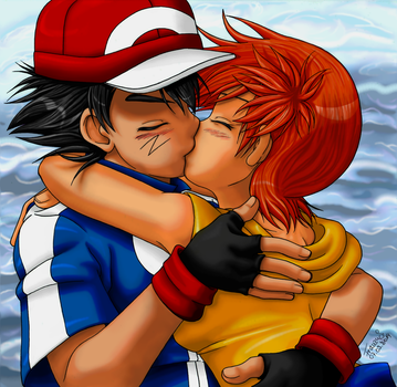ash and misty kiss the girl № 334747