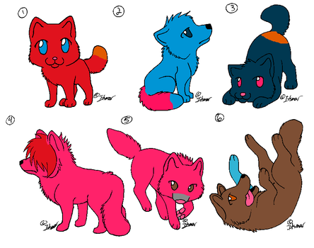 Chibi Wolf Adopts (5 points each) by HisBrokenMarionette