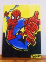 Spiderman Color Sketch Card by XxPohGoxX