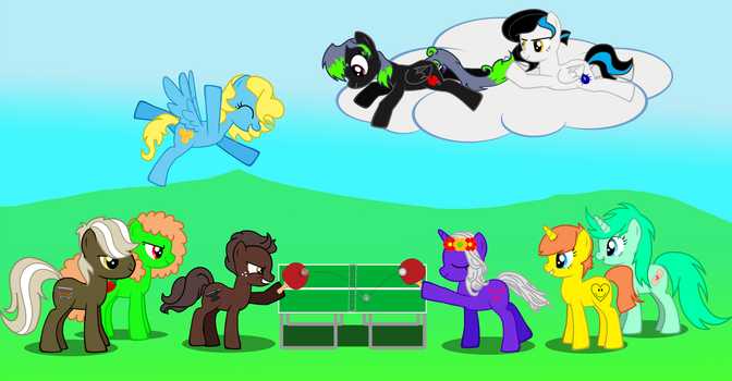 Ponies Playing Ping-Pong by HisBestFantasyEverXD