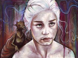Daenerys Targaryen Dragon Painting Game of Thrones by Olechka01