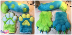 (FOR SALE) Spotted Fursuit Handpaws and Tail Set by TECHNlCOLOUR