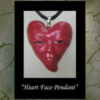 Red Face Heart Pendant by KabiDesigns