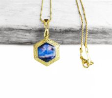Purple Blue Galaxy Brass Hexagon Locket Necklace by crystaland