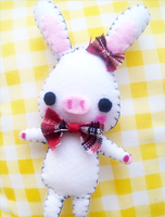 Felt : Pig Rabbit plush by CraftCandies