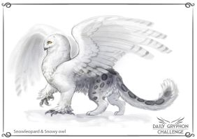 Gryphon Challenge 09 : Snowleopard and Snowy owl by GaiasAngel