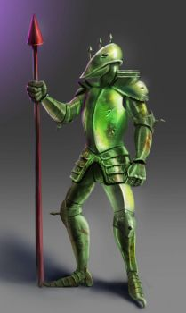 The green knight with a red spear by veselin-panayotov