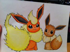 Flareon and Eevee by sazmullium
