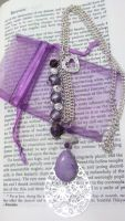 Purple and Silver Beaded Necklace by NerdyMind
