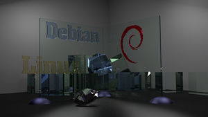 Debian Glass linux wallpaper Blender by Lukazoid