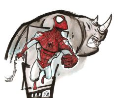 Spidey and Rhino by FranchiFabio
