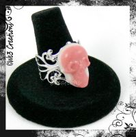 Pink and White Resin Skull Ring by kelleejm1