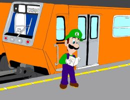 Luigi in Mexico City's metro by mp-super-luigi