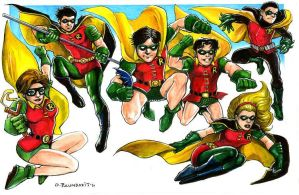 Six Robins by olybear