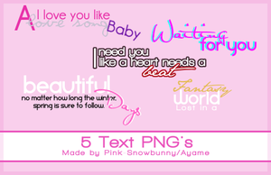5 Text PNG's by Pink-Snowbunny