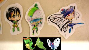 caterpie, metapod, butterfree by jejejeca