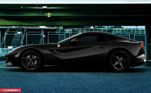 Ferrari F12 Black with Vossen Wheels Side View by YogaBudiwCUSTOM