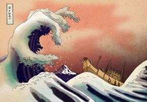 Modern Interpretation Hokusai Katsushika Greatwave by 0utlanD3r