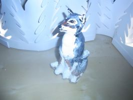 Fimo wolf sculpture finished by ArcticIceWolf