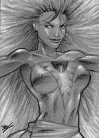 Dark Phoenix bw sketch card by Ethrendil
