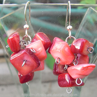 Pink and Red Earrings by MuffinSquee