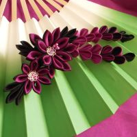 Night dahlia kanzashi by elblack