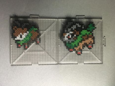 #672-#673 Skiddo and Gogoat Perlers by TehMorrison