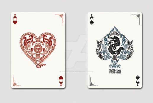 SiShou - Four Beasts, Ace of Hearts and Spades by alvincheunghy