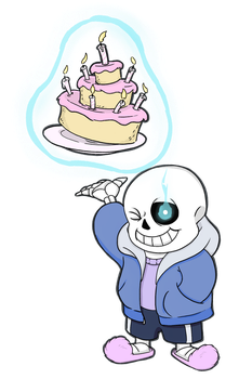Sans Birthday cake by killedbycreatures