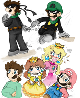 Mario: Doodlz - Chill, Gang by saiiko