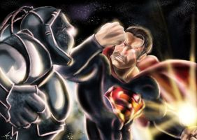 Superman vs Darkseid by alecyl