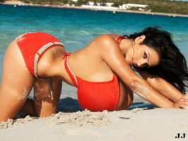 Denise Milani Red Bikini Prone by JimmyJacks99