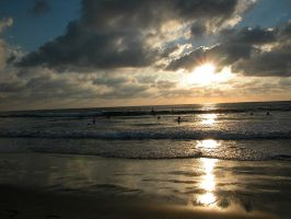 Surfers at Sunset in San Diego by 16stepper
