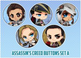 :AC: Assassin's Creed buttons set A by PrinceOfRedroses