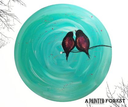 Birds on a Wire - Vinyl Record Painting by paperheartsyndrome