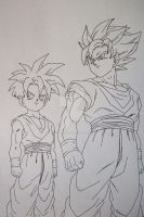 Super Saiyan Son Goku and Son Gohan by SakakiTheMastermind