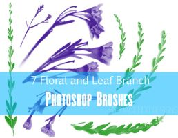 7 Floral and Leaf Branch Photoshop Brushes by haciendodesigns