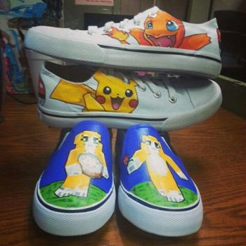 Minecraft And Pokemon Shoes by ManaArtCrafts