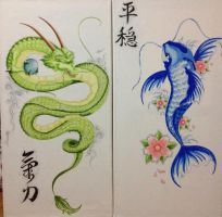 Green Dragon and Blue Koi Fish by JessieTheArtist
