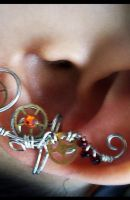 Red Steampunk Ear Cuff by sodacrush