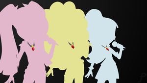 Equestria Girls Dazzleings silhouette wallpaper v2 by Amber-Rosin