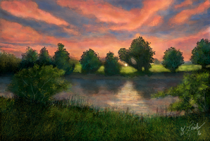 Sunset at Cutshaw's Pond (speed-paint) by ghost549
