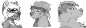 Sketch Bust Commissions Part 02 by LiLaiRa
