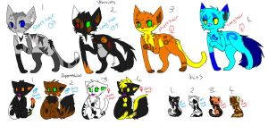 warrior cats for sale !!! by darkcat1999